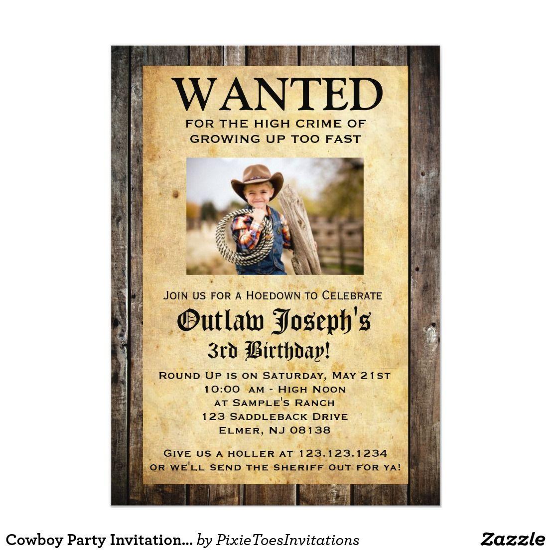 Cowboy Party Invitation | WANTED INVITATION | Cowboy party ...