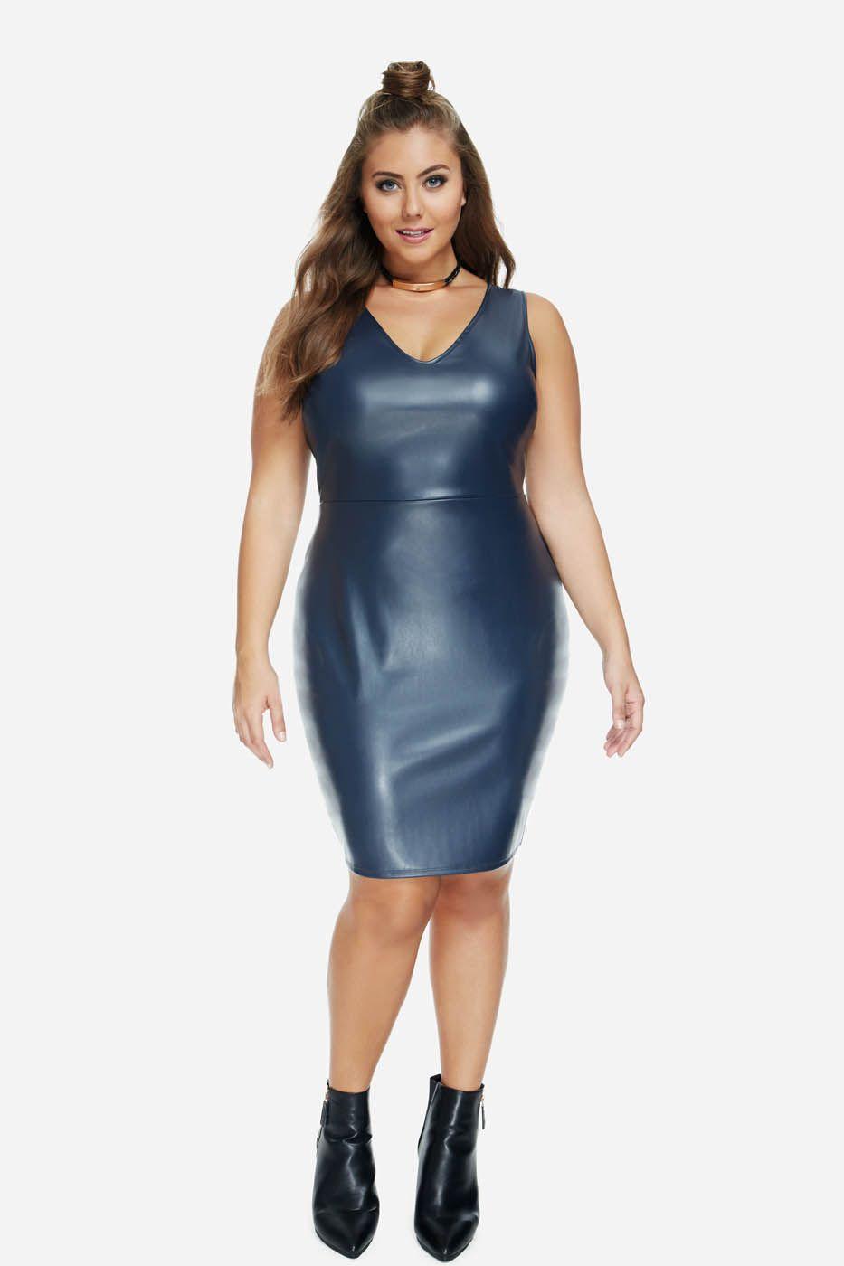 Plus Size Eve Faux Leather Bodycon Dress Plus Size Bodycon Dresses Fashion Bodycon Dress [ 1400 x 933 Pixel ]