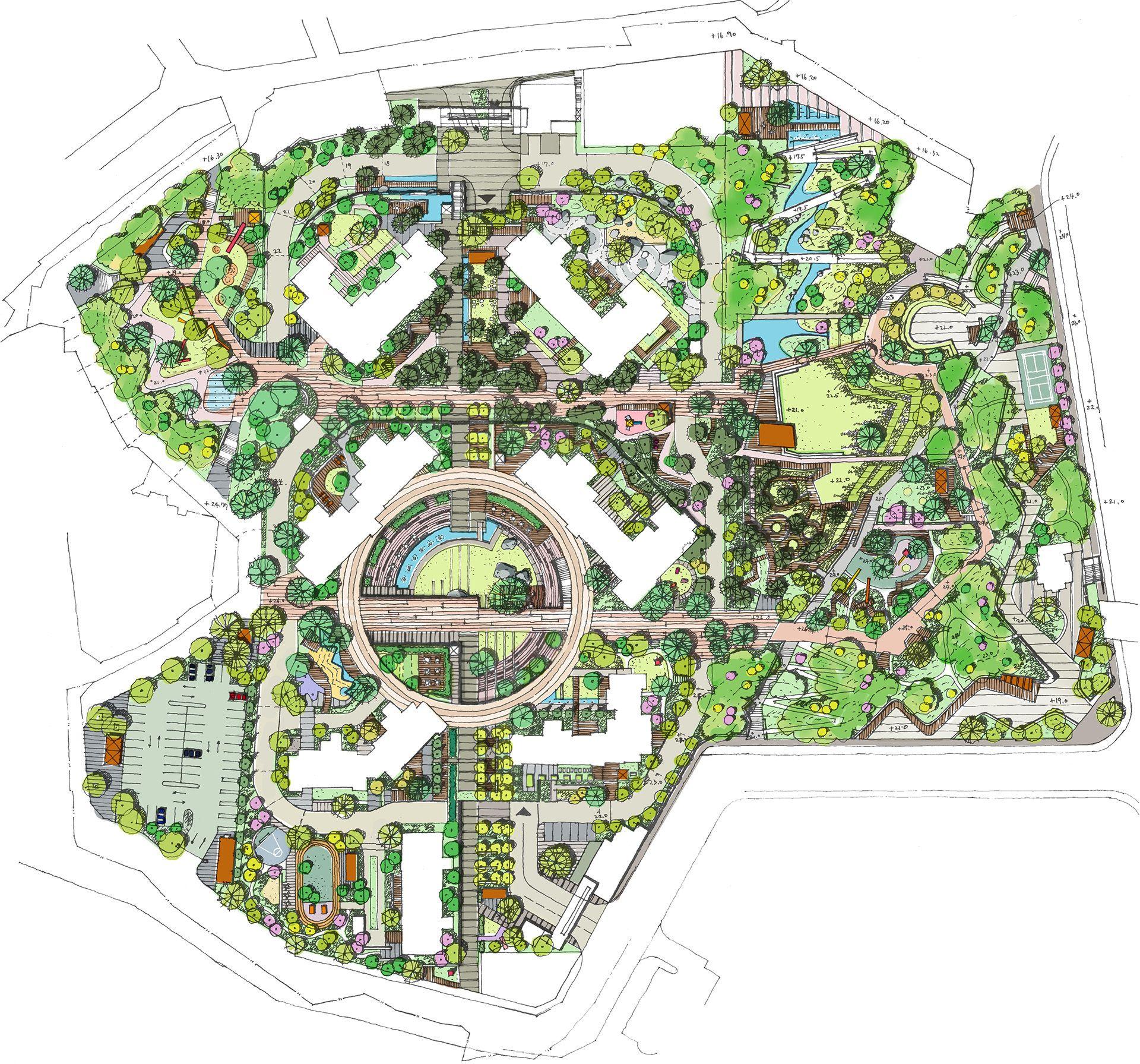Haengdang Dong Apartment Landscape Design Designed By Studio101 조경 도면 조경 조경설계