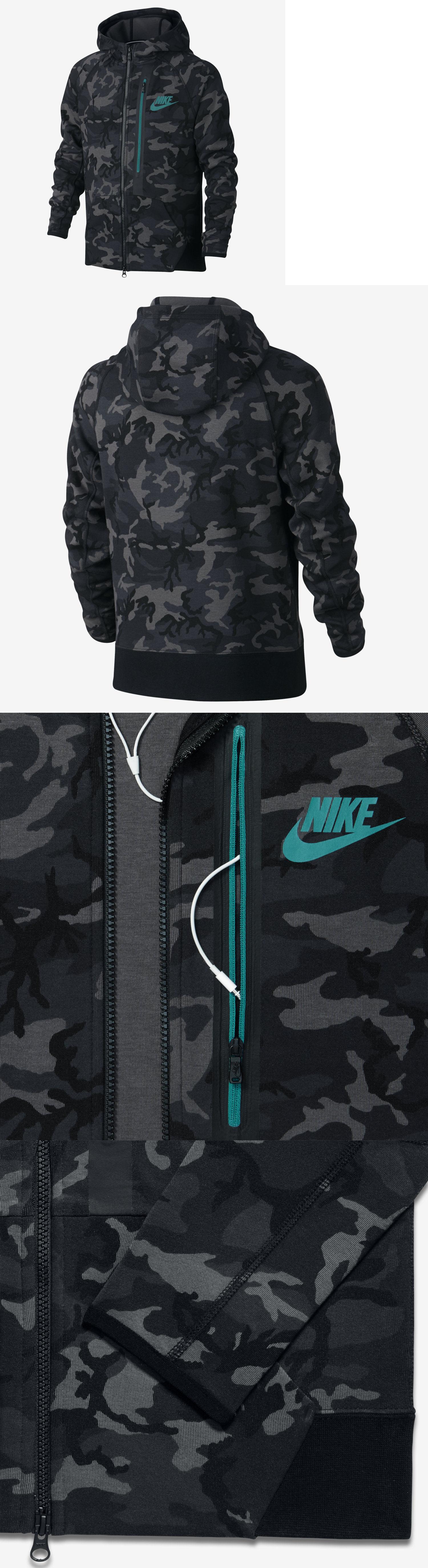NIKE Youth Boys Tech Fleece Allover Print Full Zip Hoodie Camo Grey