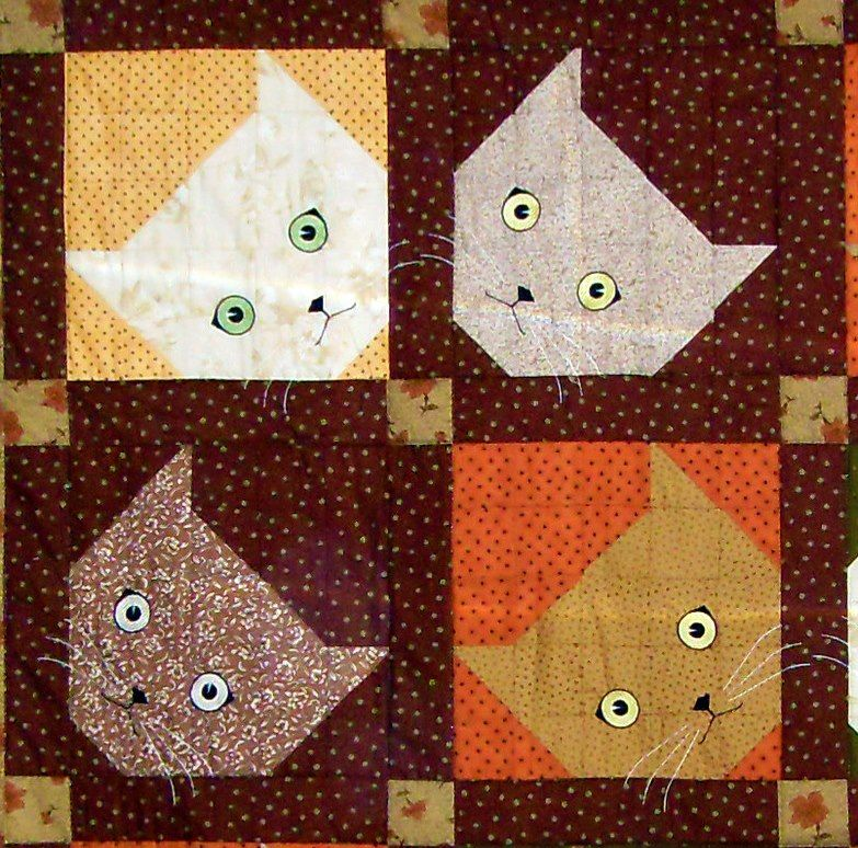 Free Cat Kitty Applique Pattern Quilt