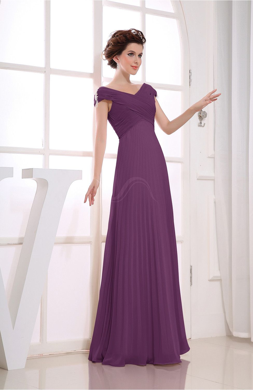 Raspberry Bridesmaid Dress - Vintage Empire Short Sleeve Zipper ...