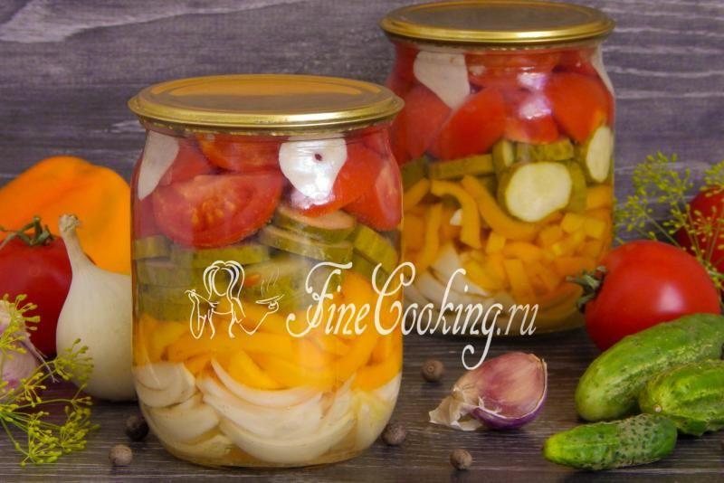 салат з огірків та помідорів на зиму рецепти