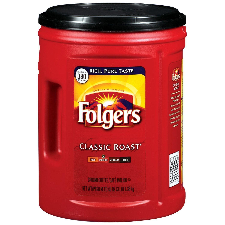 Folgers classic roast ground coffee 48 oz folgers