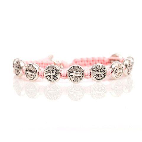My Saint My Hero Silver Benedictine Blessing Bracelet (Pink)