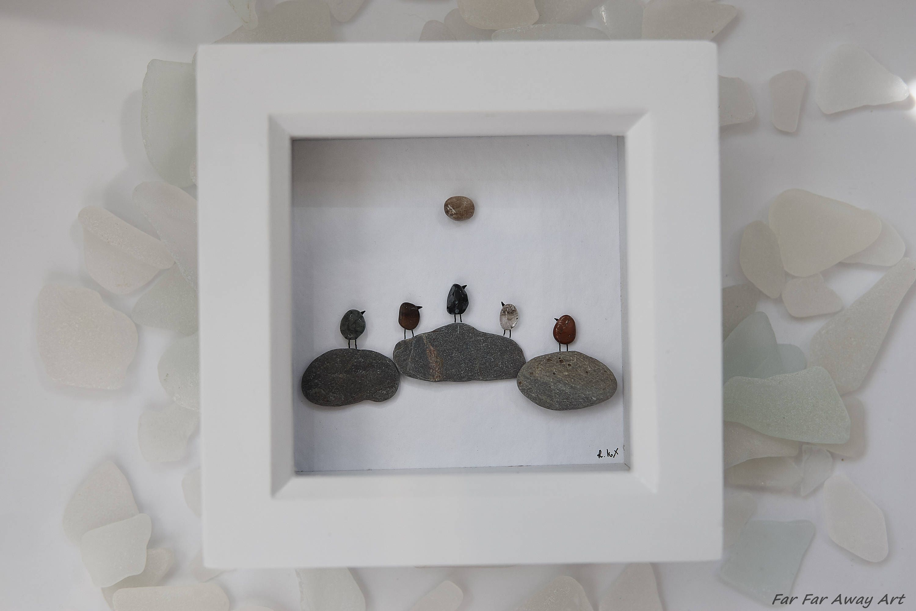 pebble art small gift sunset picture gift for friend gift for