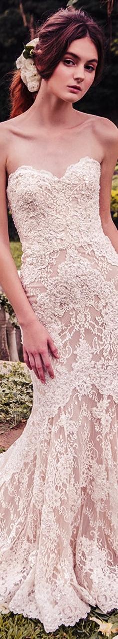 Snow by Annasul Y 2017 bridal strapless sweetheart trumpet sheath lace wedding dress train