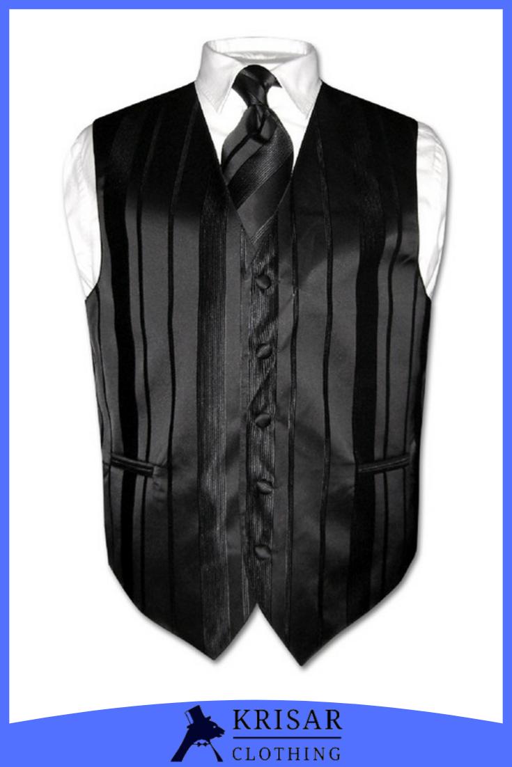 Men S Dress Vest Necktie Black Color Woven Striped Design Neck Tie Set In 2021 Mens Dress Vests Vest Dress Men Dress [ 1102 x 735 Pixel ]