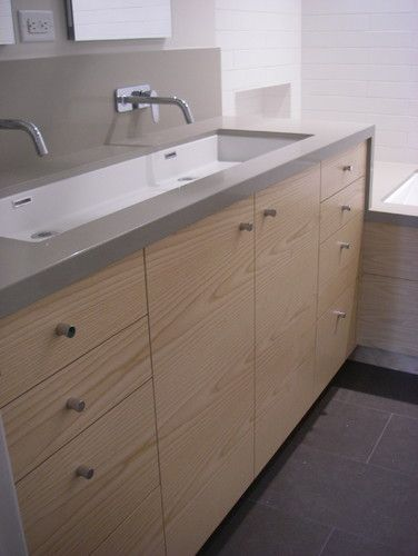I Like This For Kids Bathrooms That Way They Can Fight Over Who S Turn It Is To Clean The Sink Lol Bathroom Sink Design Trough Sink Bathroom Sink Design