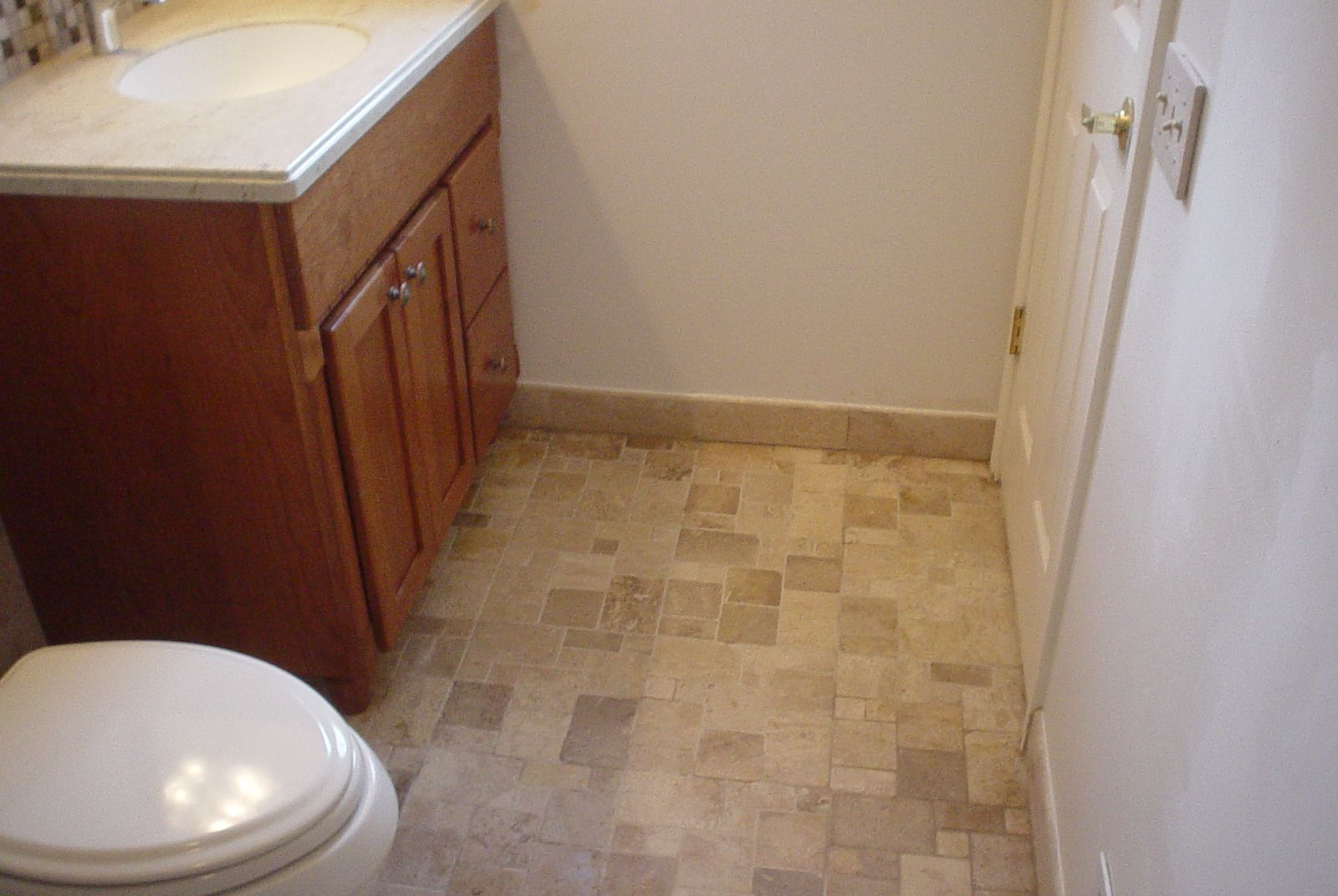 New vanity and new tile floor