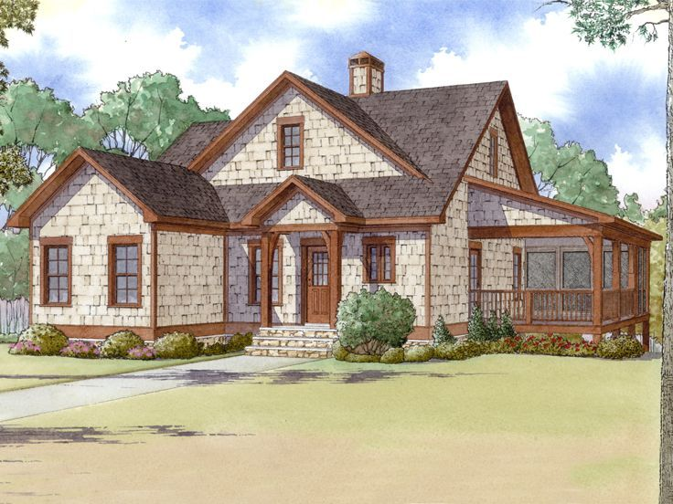 074H 0010: Two Story Bungalow House Plan Includes Vaulted Great Room And  Screened