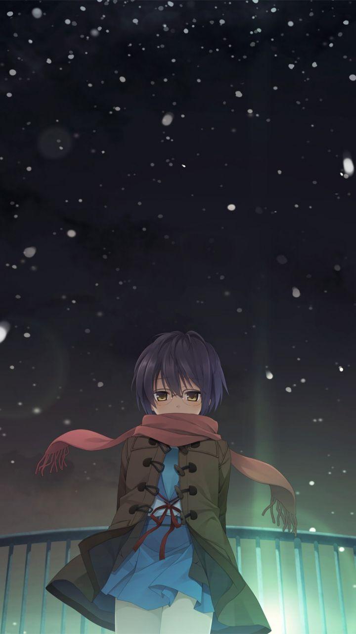 X Wallpaper Nagato Yuki Girl Anime Snow Sky