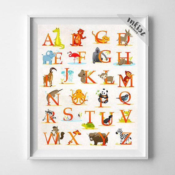 Abc Wall Art animal alphabet poster, alphabet print, abc wall art, abc print
