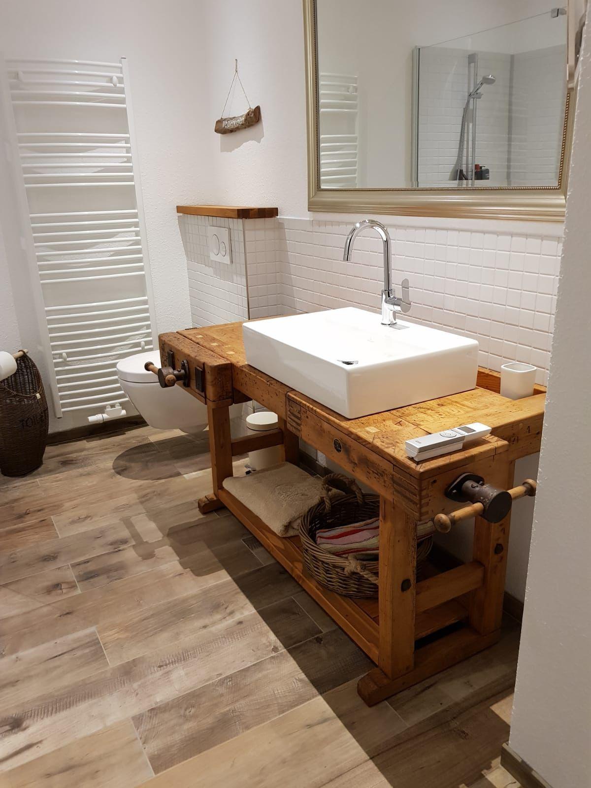 Waschtisch Aus Alter Hobelbank S L Loftart Waschtisch Workbench Hobelbank Bader Alter Aus Ho Wash Basin Bathroom Design Decor Diy Bathroom Vanity