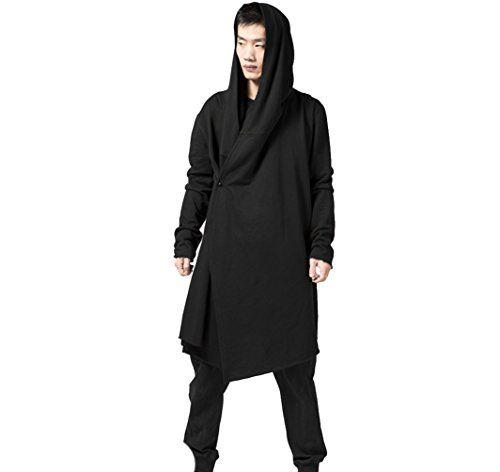 Men's Black Long Hooded Cardigan Large Cape Cloak Coat (U