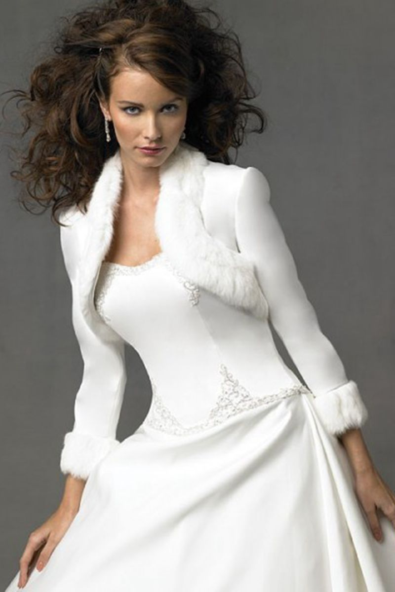 Dress with jacket for wedding   from arbrideapparel Enticing White Long