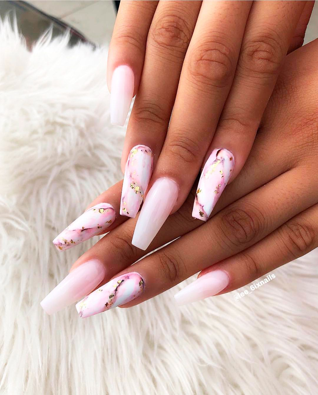 Wonderful pink marble coffin nails with pink \u0026 white ombre
