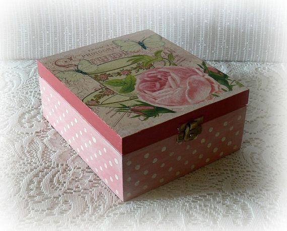 Caja decoupage madera hermosa con separadores - Cajas de madera decoradas ...
