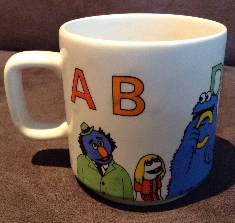 Vintage Sesame Street Ceramic Cup Mug Bert Ernie Cookie