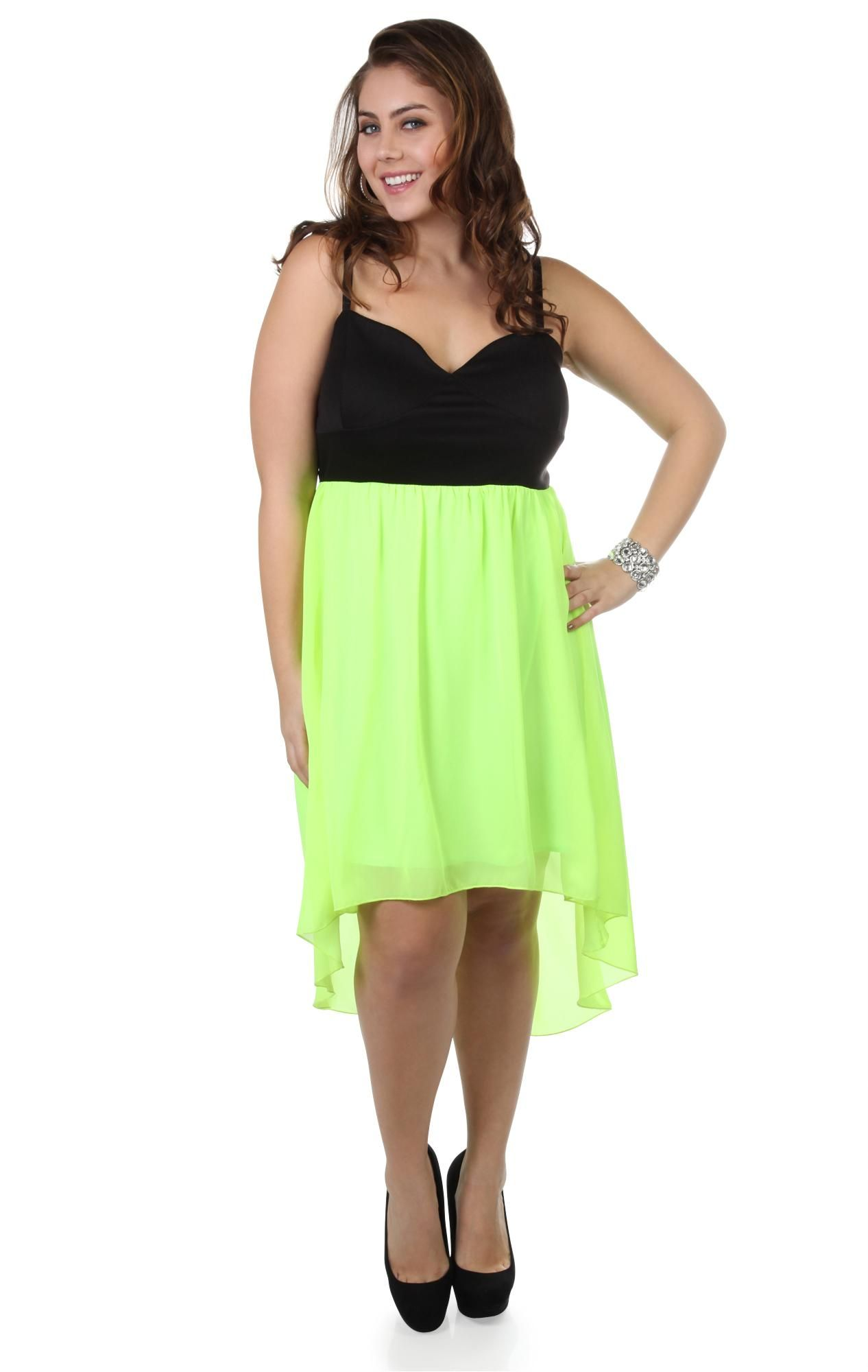 plus size corset style neon yellow high low dress - debshops.com ...