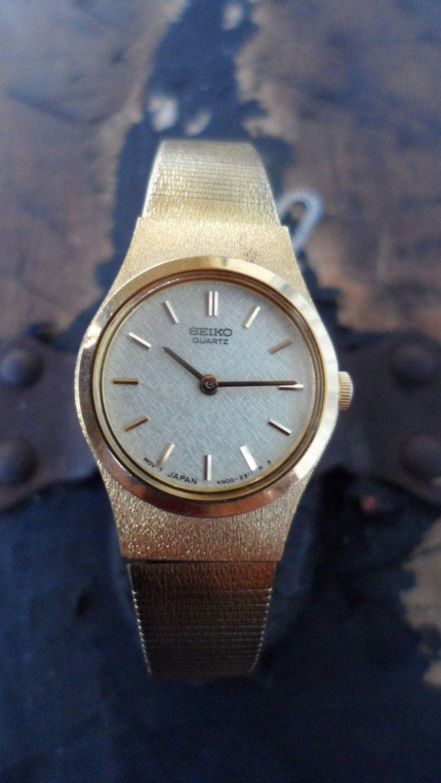 SEIKO Quartz Womens Gold Watch, Safety Chain