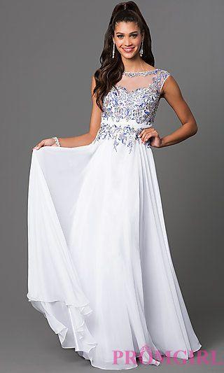 Long Sleeveless Dress with Lace Embellished Bodice by Elizabeth K at PromGirl.com