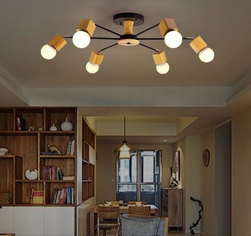 Modern Wood LED Ceiling Light Fixture, 6 or 8 Lights Ceiling light - moderne deckenleuchten fur wohnzimmer