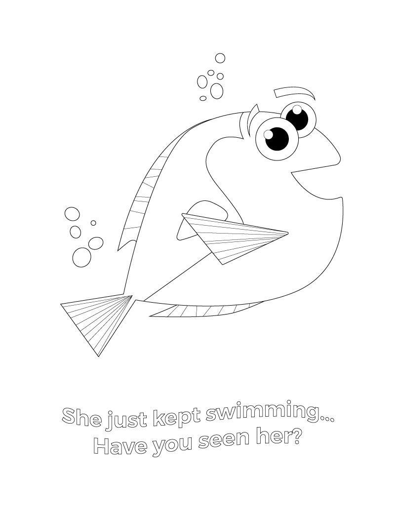 Finding Dory Coloring Pages for Kids | Juegos educativos, Molde y ...