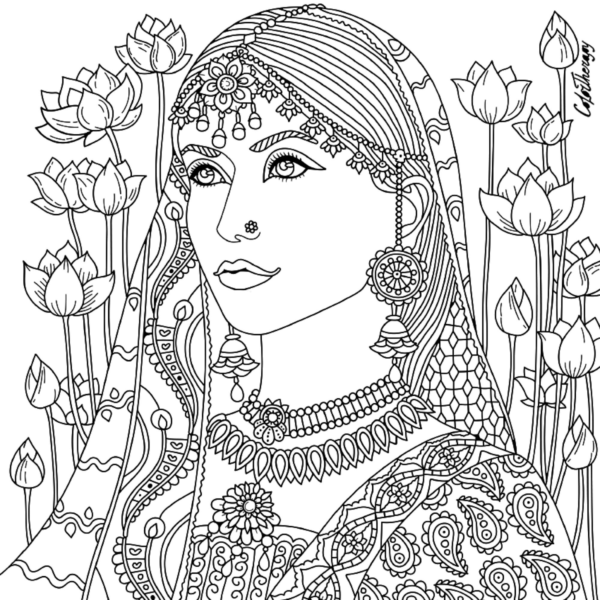 Therapeutic coloring pages for adults - Indian Beauty Coloring Page