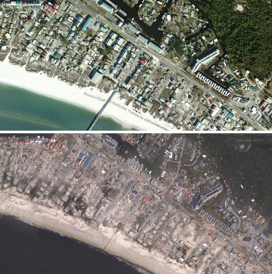Top Before Hurricane Michael S Arrival In Mexico Beach Florida Bottom After Hurricane Michael Nearly Eve Mexico Beach Panama City Panama Florida Hurricane