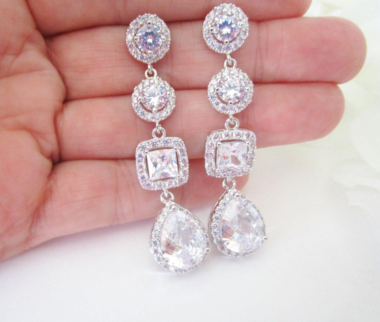 Cubic Zirconia Bridal Earrings Long Wedding Earrings,Princess Cut ...