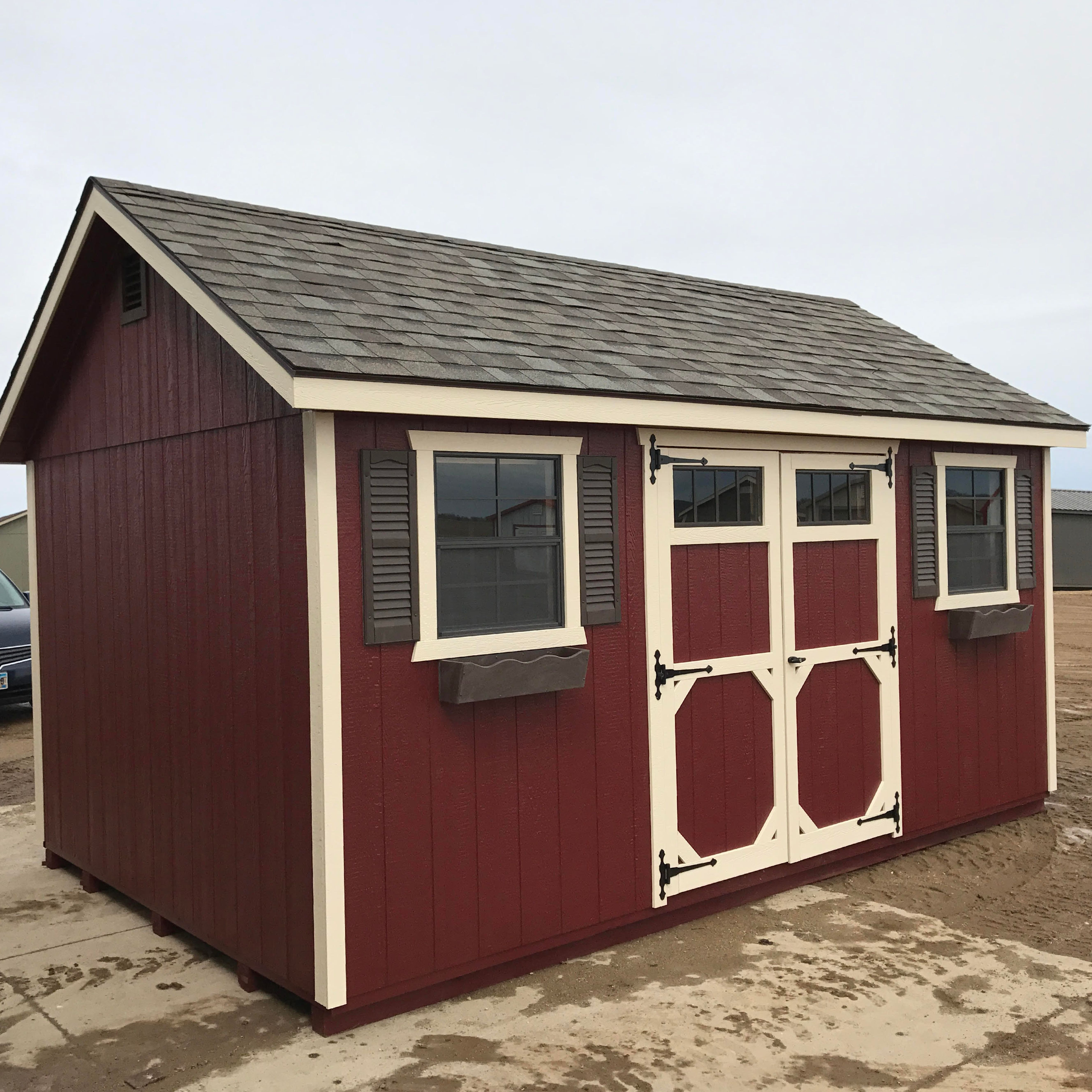 Here S A Beautiful 10x16 Ft Ranch Deluxe Shed With Lp Smart Panel Lp Smart Finish Lp Prostruct Flooring And Pa Painted Shed Shed Paint Colours Shed Colours