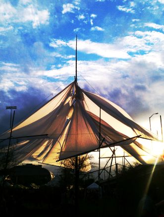 A really cool art installation at Forecastle resembling the masts and sails of a ship