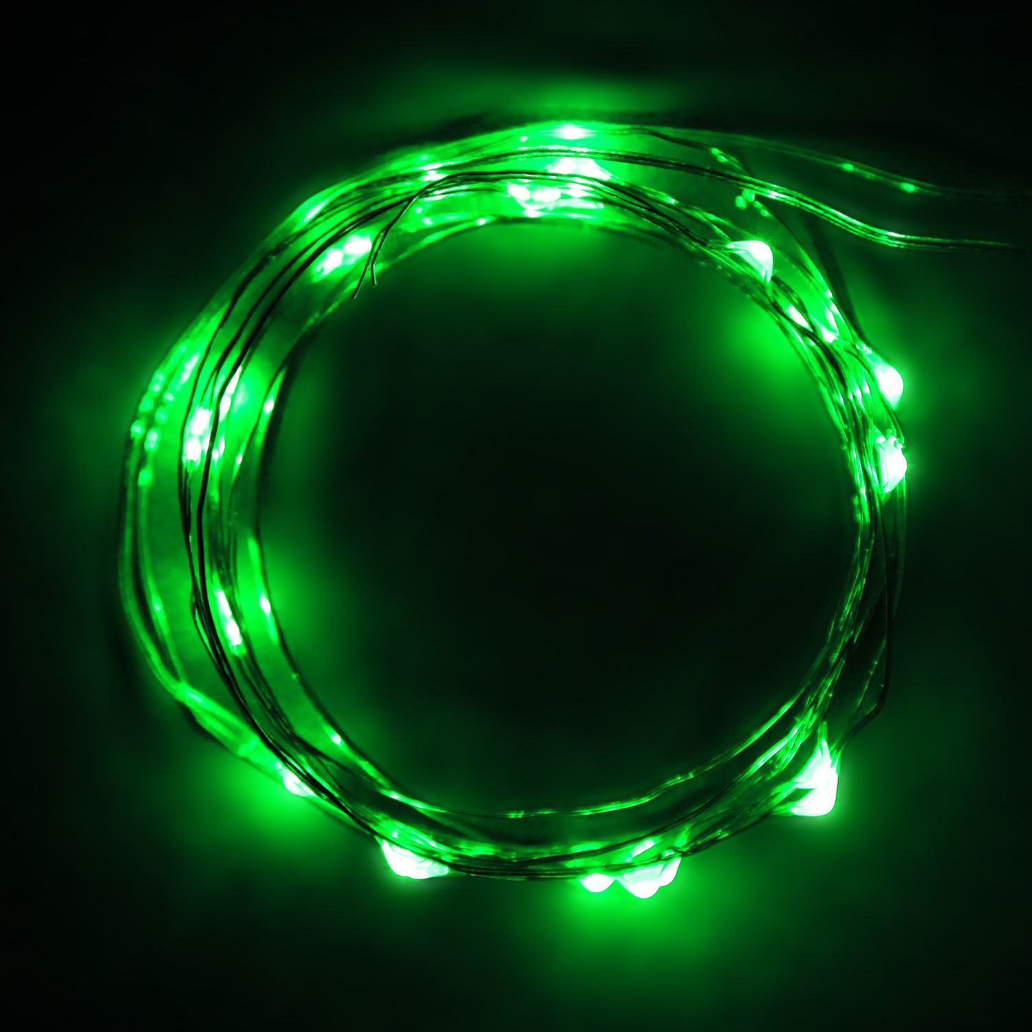 20 battery operated green micro #LED lights on 7ft long ultra thin ...