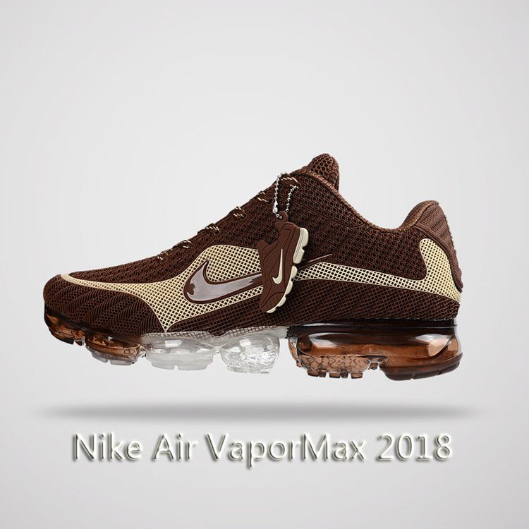 new product eb8c5 a142c Nike Air Vapormax 2018 Men Running Shoes Brown Beige