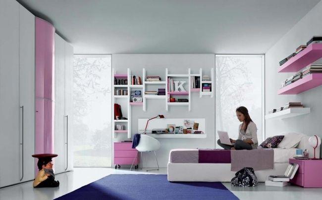 Jugendzimmer mädchen modern blau  jugendzimmer mädchen rosa wand weiße möbel schwarzer fußboden ...