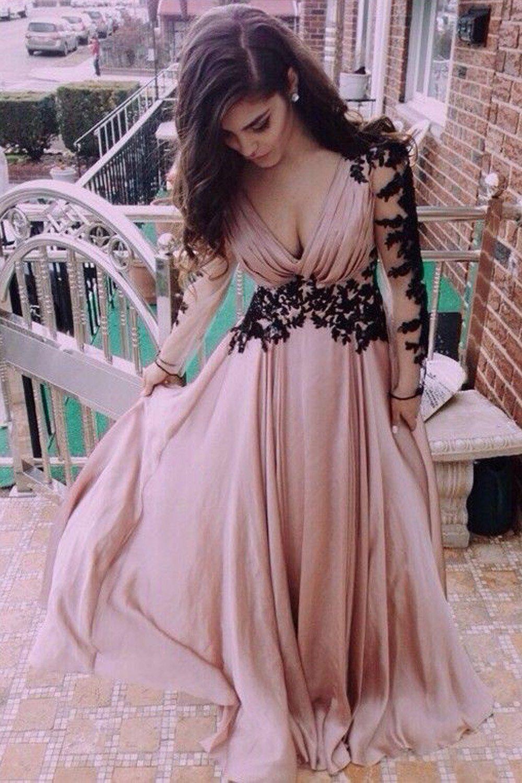 Hot Sale Cute Long Prom Dress Wedding Dress V-Neck Long Sleeve Lace ...