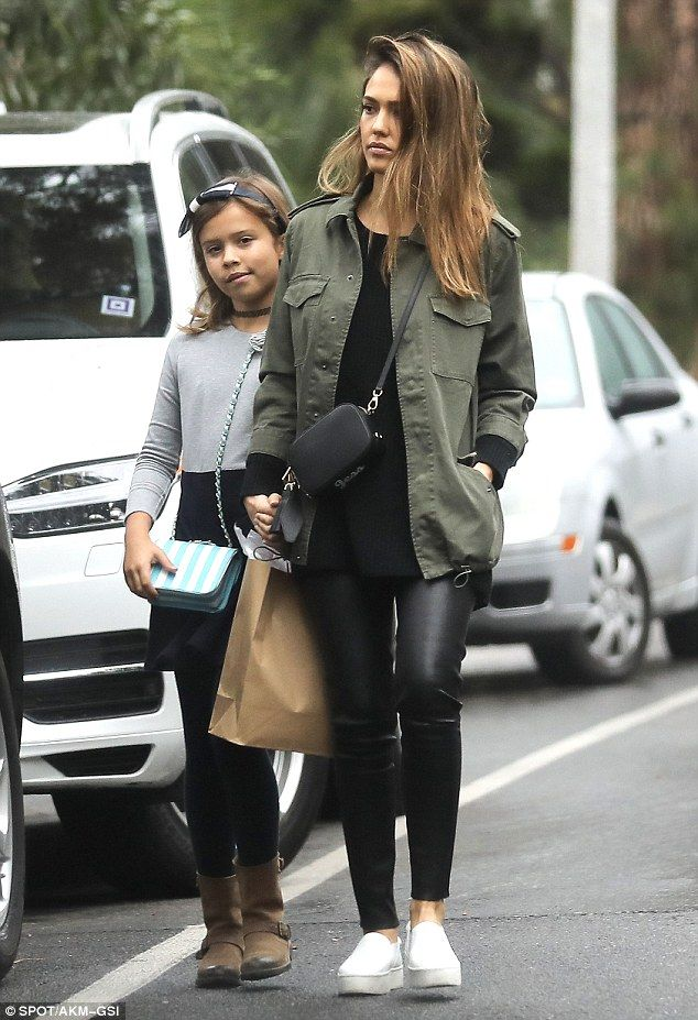 Jessica Alba dons tight leather pants to Beverly H