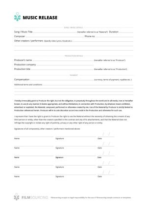 Music Release Form When Music Is Used In A Film Or Tv A Release
