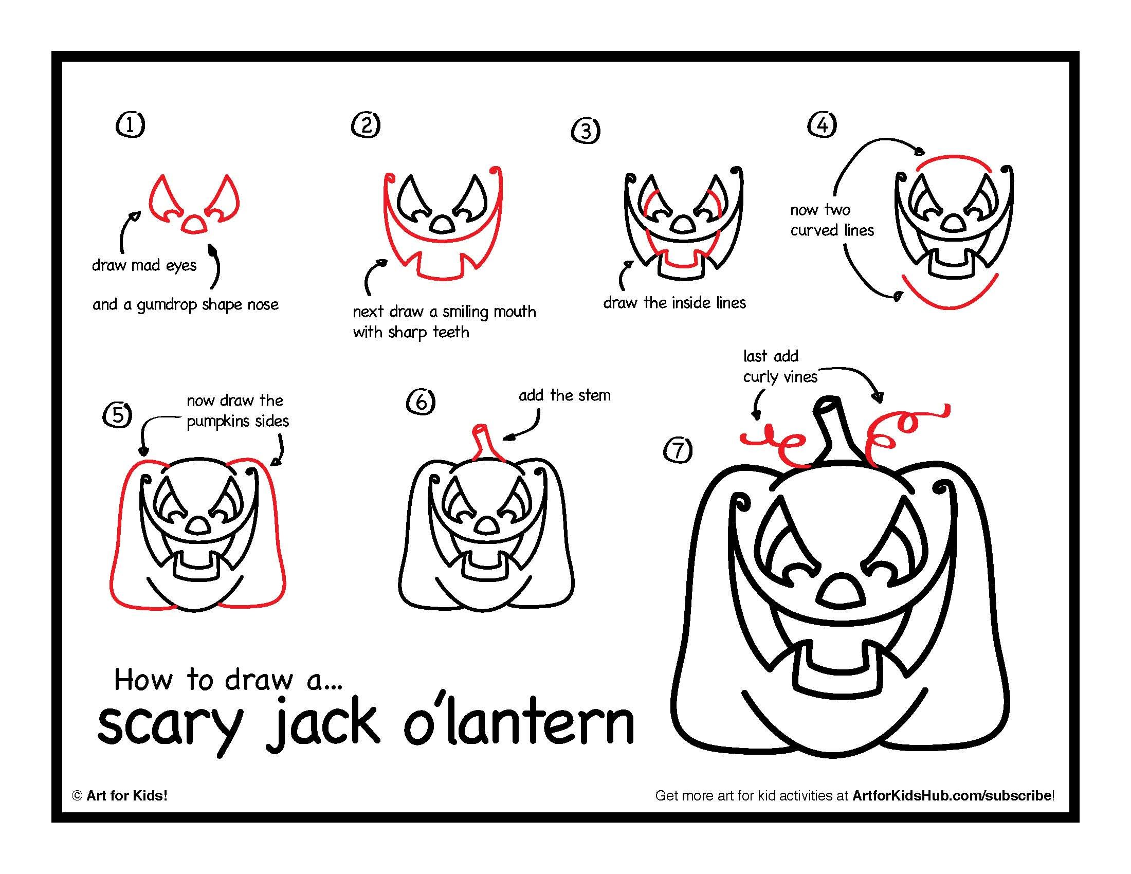 how to draw a scary jack olantern art for kids hub - How To Draw Halloween Things For Kids