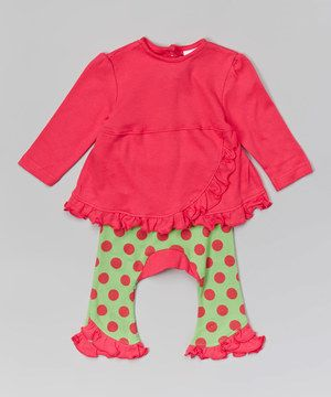 Look at this #zulilyfind! Zootie B. Little Hot Pink Ruffle Tunic & Green Polka Dot Pants by Zootie B. Little #zulilyfinds