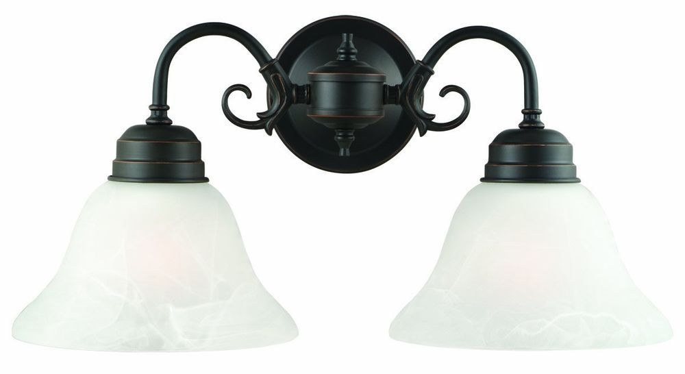 Vintage 2 Light Wall Oil Rubbed Bronze Hardwired Bathroom Vanity Fixture