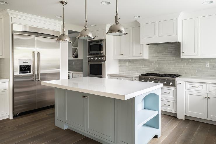 White Kitchen Cabinets With Gray Brick Tile Backsplash