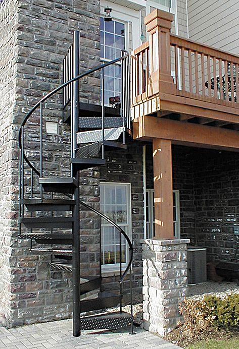 Powder coated black exterior spiral staircase escaleras - Escalera caracol exterior ...