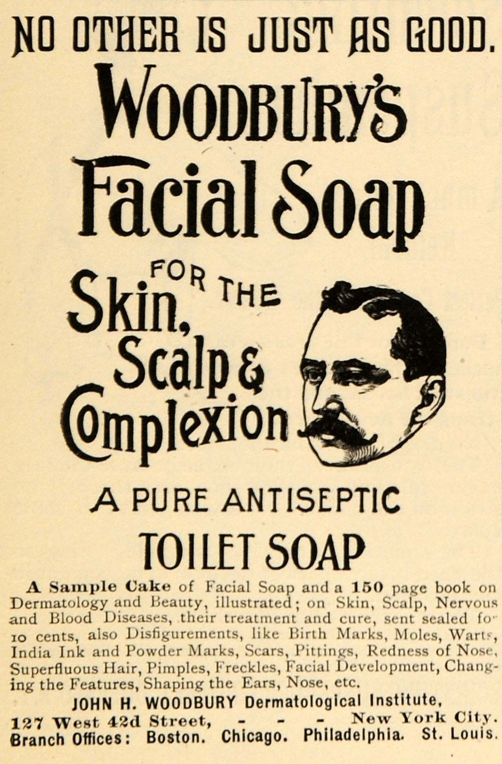 Publicidad Productos Sanitarios 1895 Ad John H Woodbury Dermatology Facial Scalp Soap Original