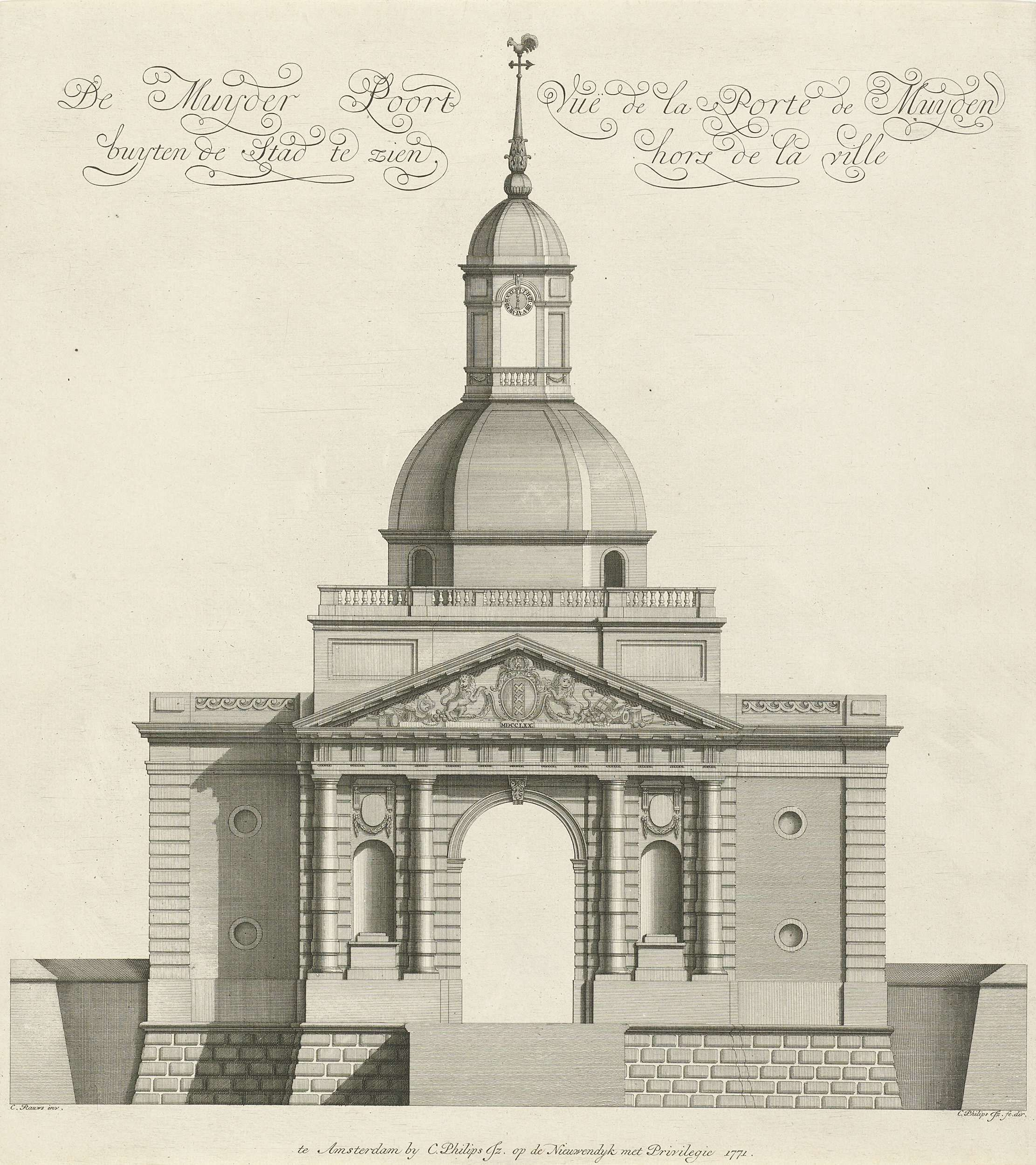 Caspar Jacobsz. Philips | Muiderpoort gezien van buiten de stad, Caspar Jacobsz. Philips, 1771 |