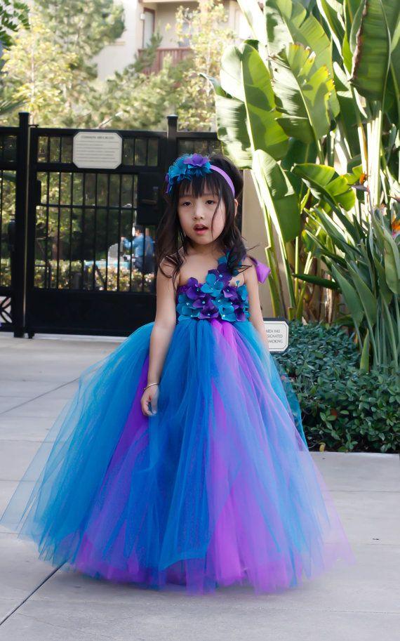 robe de fille de fleur robe tutu violet et bleu sarcelle