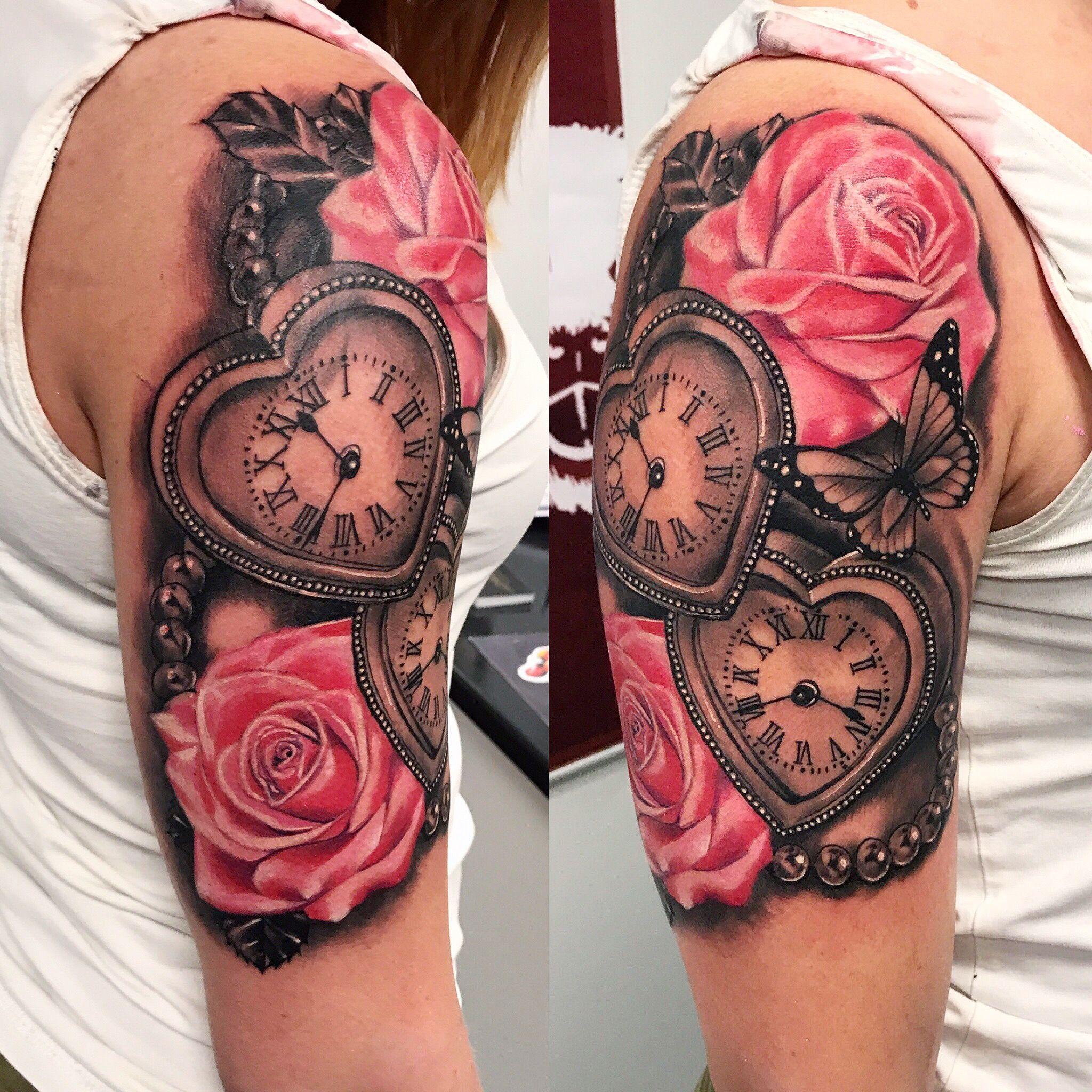 Feminine Heart Clock Tattoo