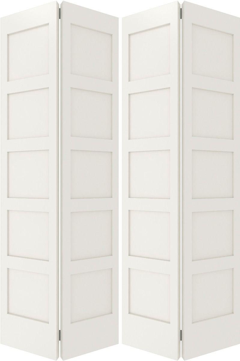 5100bf Sh Mdf 5 Panel Shaker Interior Bifold 4 Door In 2020 House Doors Single Doors
