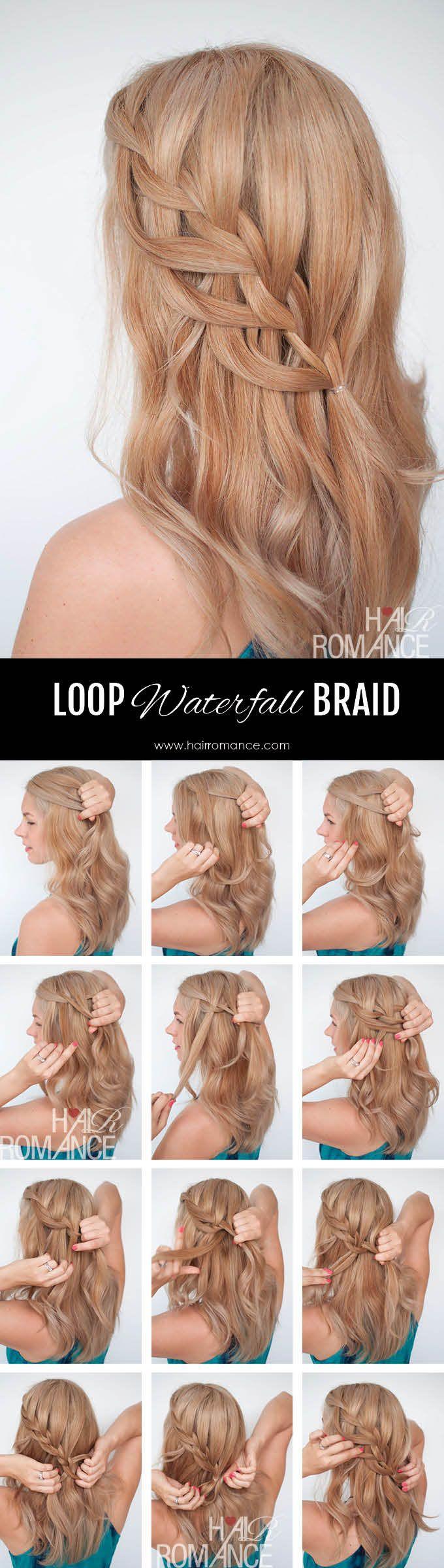 Stupendous Loop Waterfall Braid Tutorial Hair Romance Braided Hairstyles Natural Hairstyles Runnerswayorg